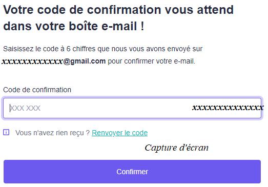 inscription qonto : saisir code confirmation